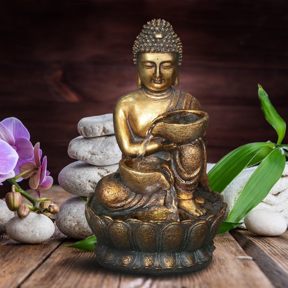 13.8-inch Lighted Buddha Fountain